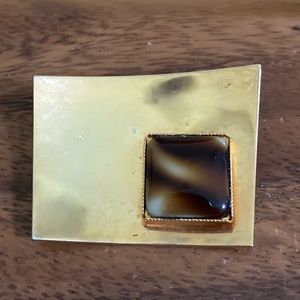 80's Gold and Tiger Eye Brooch